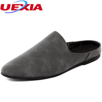 UEXIA Suede Leather Men S Shoes Beach Slippers Fashion Comfortable Breathable Flip Flops Soft Sole Breathable