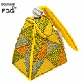 Women Vintage Wristlets Handbag Clutches Wedding Party Yellow Geometric Hot-Fixed Crystal Diamond Pyramid Evening Clutch Bags