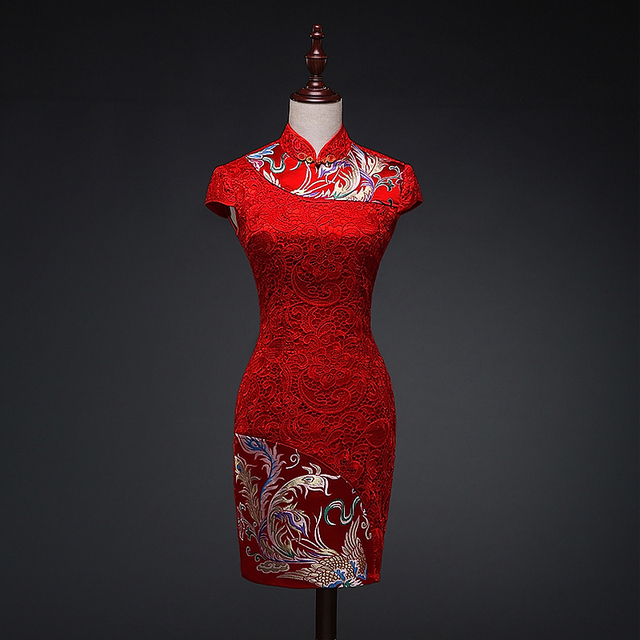 Chinese Oriental Dresses Wedding Qipao Women Short Cheongsam Mini Dress Embroider Red Lace Bride Prom Dress Robe Chinoise