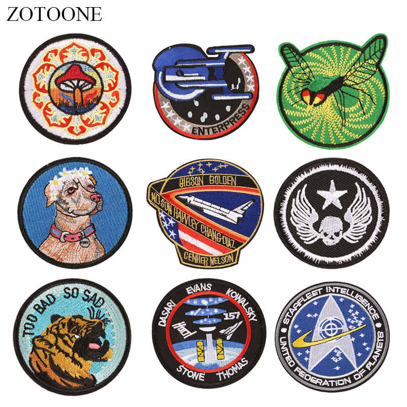 ZOTOONE Round Patches Dog Skull Diy Stickers Iron on Clothes Heat Transfer Applique Embroidered Applications Cloth Fabric G