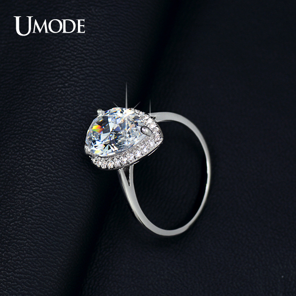 UMODE Brand Wedding Rings For Women White Gold Color Big 4 Carat