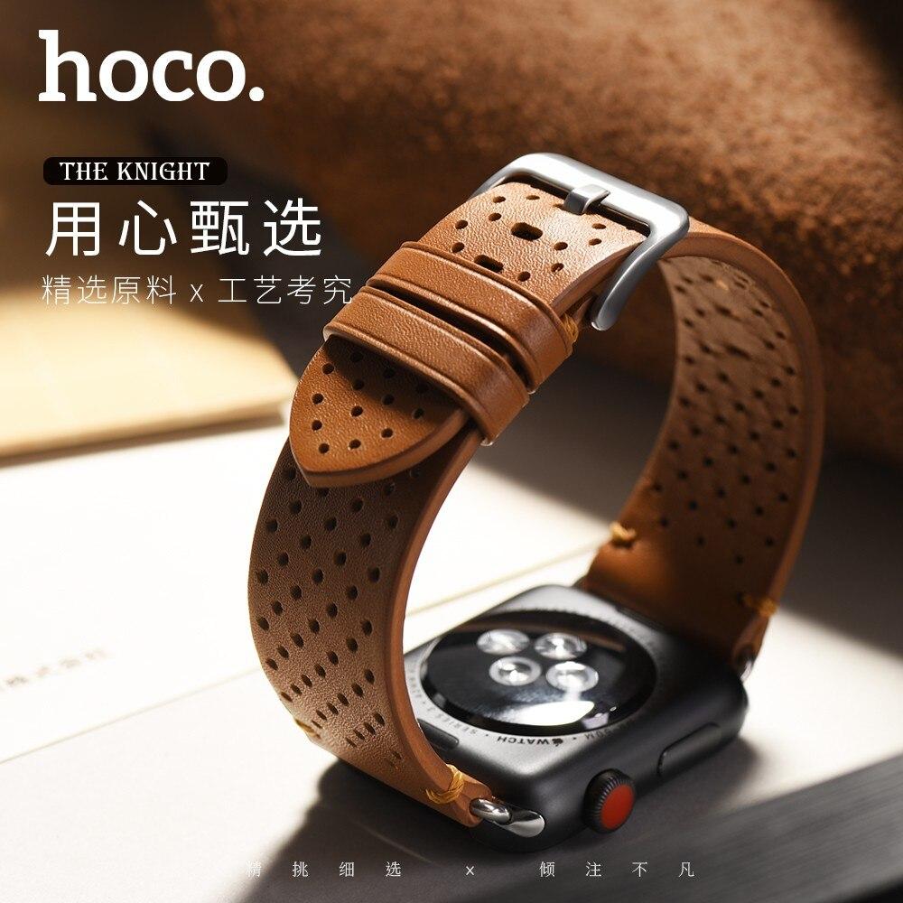 HOCO Cavaliere Traspirante Cinturino In Vera Pelle per Apple Watch Band per iWatch Serie 1 2 3 4 Braccialetto 44mm 42mm 40mm 38mm Della Cinghia