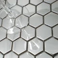 Серебристая Шестигранная металлическая мозаика из нержавеющей стали 26 мм для кухни плитка для ванной комнаты душевая настенная плитка для ...
