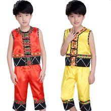 Children Chinese Folk Costume Boy Nation Dancing Clothing Sleeveless Ethnic Danc