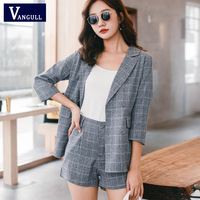 Vangull Plaid Short Pant Suits for Women Spring Summer Double Breasted Notched Blazer Jacket & Hot Shorts Casual 2 Pieces Set