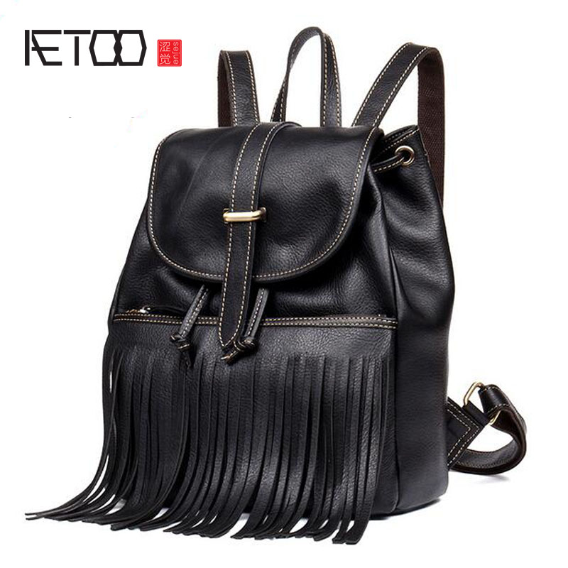 AETOO Original leather backpack art retro tassel backpack women first layer leather belt shoulder bag aetoo original women s shoulder bag black print backpack small fresh artistic first layer leather pocket computer bag