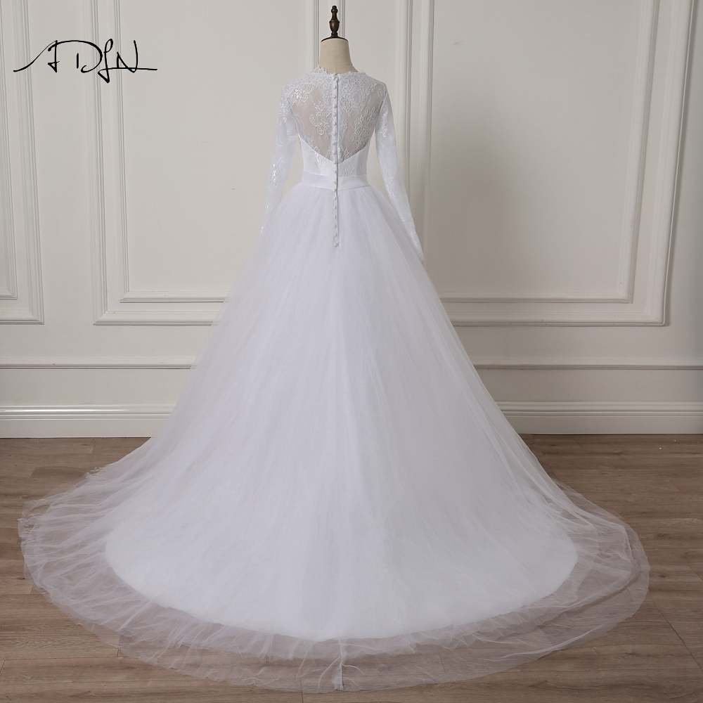 ADLN Elegant Scoop rochie de mireasa cu maneca lunga Lace A-line Alb - Rochii de mireasa - Fotografie 2