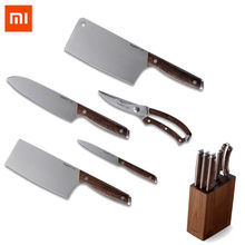 Xiaomi Berghoff Stainless Steel Kitchen Knives Chef Knife Sharp Santoku Cleaver Slicing Utility Knives Tool Sicssor W/ Holder(China)