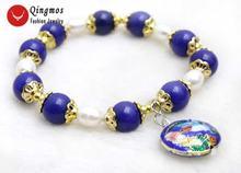 Модный женский браслет qingmos с натуральным жемчугом и искусственными