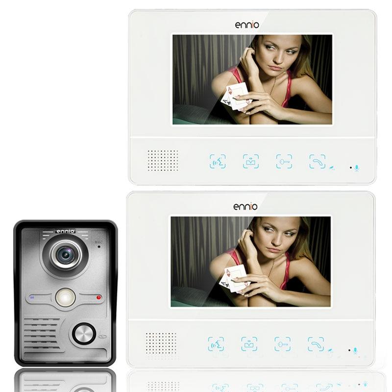 Gratis Verzending 7 inch TFT Touch Screen Kleur LCD Video Deurtelefoon Wired Video Intercom 2 Monitor Deurbel Intercom systeem