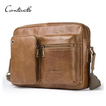 2c865995ff8d High Quality CONTACT S New Vintage Men s Bag Genuine Leather Men Shoulder  Crossbody Bag With Zipper Pocket For Men Messenger Bags Versatile