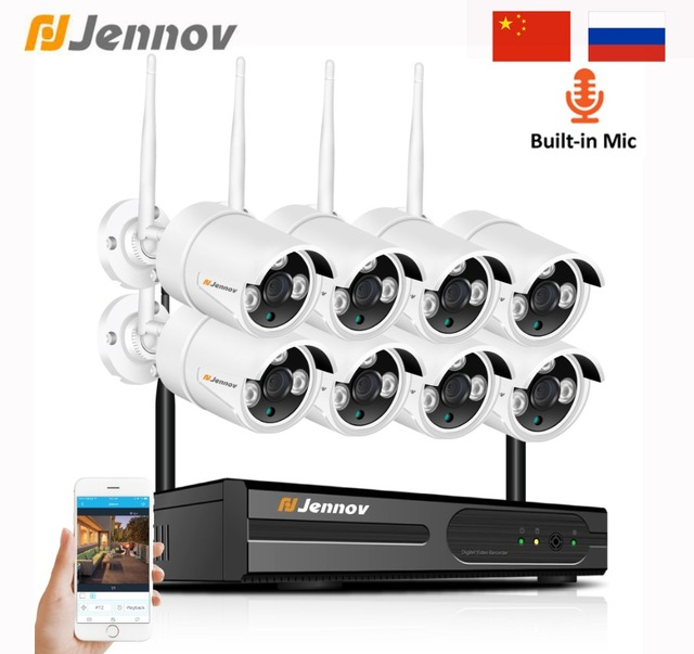 Jennov 8CH 1080P 2MP Security Camera System Wifi Video Surveillance Kit IP Camera Wireless NVR CCTV Kit Audio System P2P HDMI