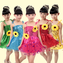 d71b8158e3dfc Children's Costume Girl Sequin Harness Skirt Sun Flower Modern Princess  Fluffy Skirt Dress Dance Costumes Kids