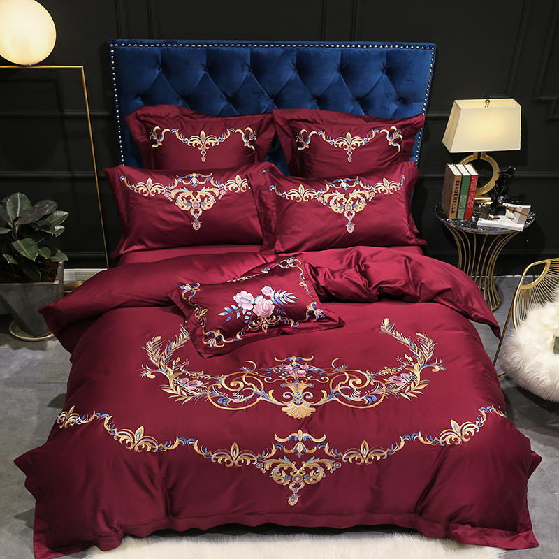 Wine Red Blue Egyptian Cotton Premium Embroidery Bedding Silky Ultra Soft Duvet cover set Queen King