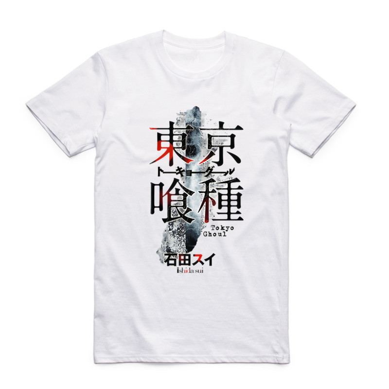 New Fashion Men Print Tokyo Ghoul Anime T-shirt O-Neck Short Sleeves Summer Japanese Manga Ken Kaneki Cool Top Tee T Shirt