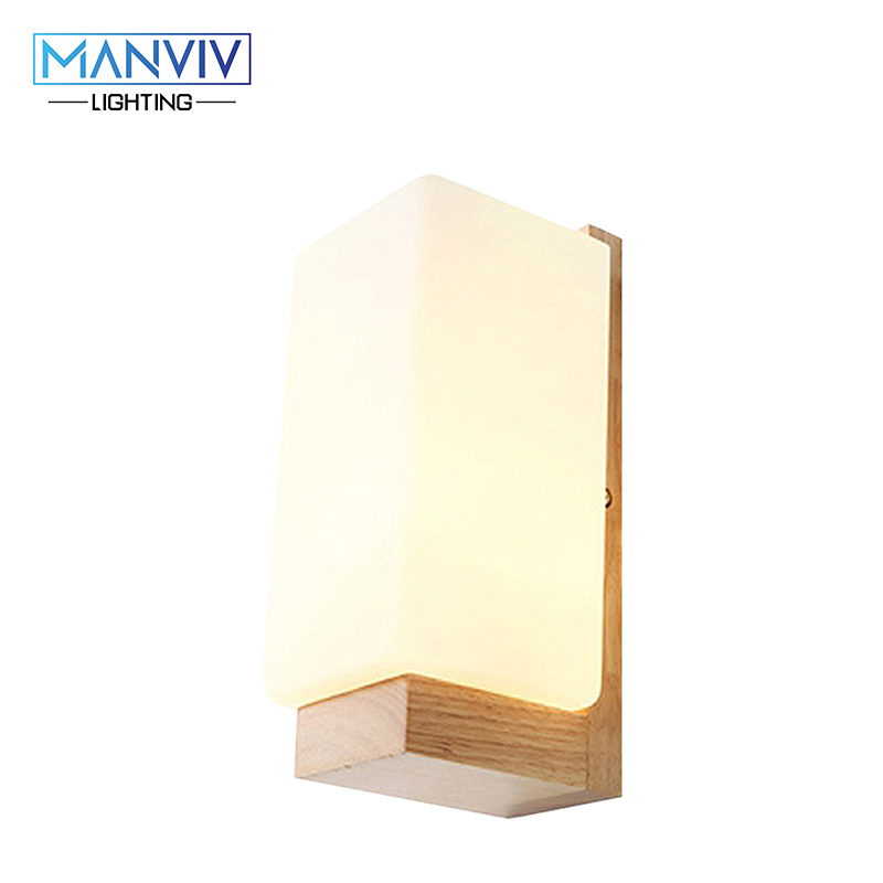 Modern Nordic Wall Lamp E27 Wood+Glass Light Oak Wooden Wall Mounted Lamp LED Indoor Lighting For Living Room Bedroom Corridor free shipping north european russian style brief living room wooden oak wall lamp