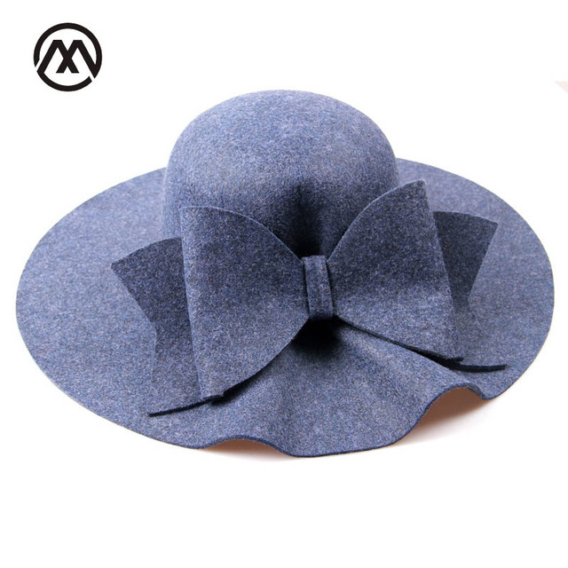 af6abfbd1ad 2018 Bow Tie Fedoras Felt Hats Women Autumn Winter Cap For Women Europe  Classic Girl Vintage Hat Wave Brim Fedoras Church Hats