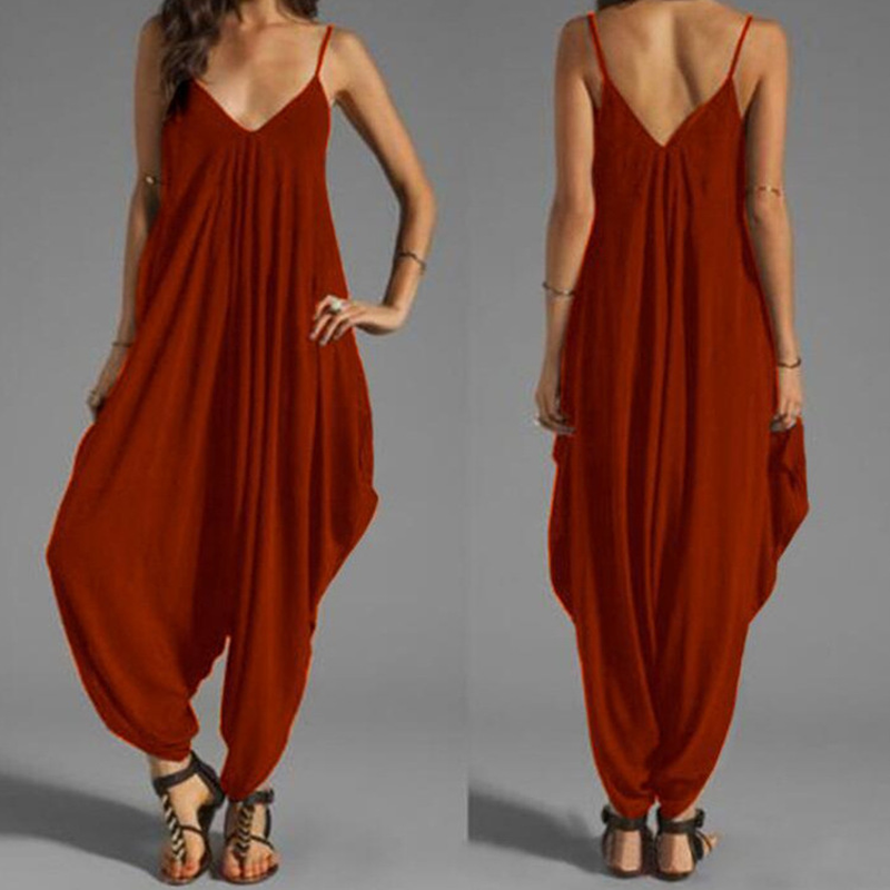 Autumn Spaghetti Strap Sexy Solid Jumpsuit Women Summer Sleeveless Casual Loose Long Bodysuit Backless Harem Romper