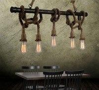 American Retro Ресторан кованого железа приспособление сантехника Nordic простой кафе пеньковый Канат люстры