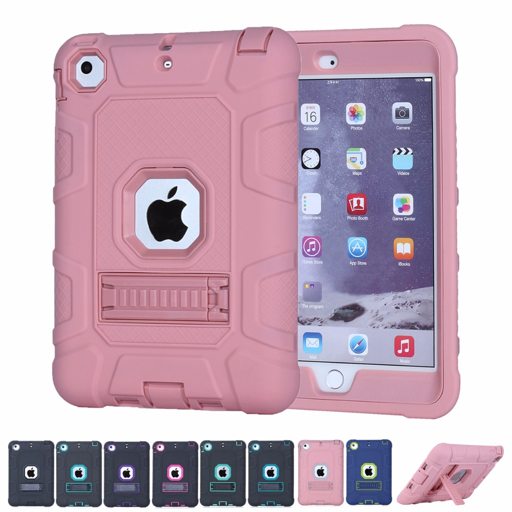 Kids Safe Kickstand Silicone Case for iPad Mini 1/2/3 Luxury Shockproof 360 Full Body Protective Cover Armor Defender Hard Cases