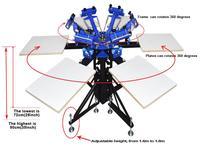 SPEA662L Six Color Six Station Double Wheel Screen Printing Machine Tshirt Platen Screen Press