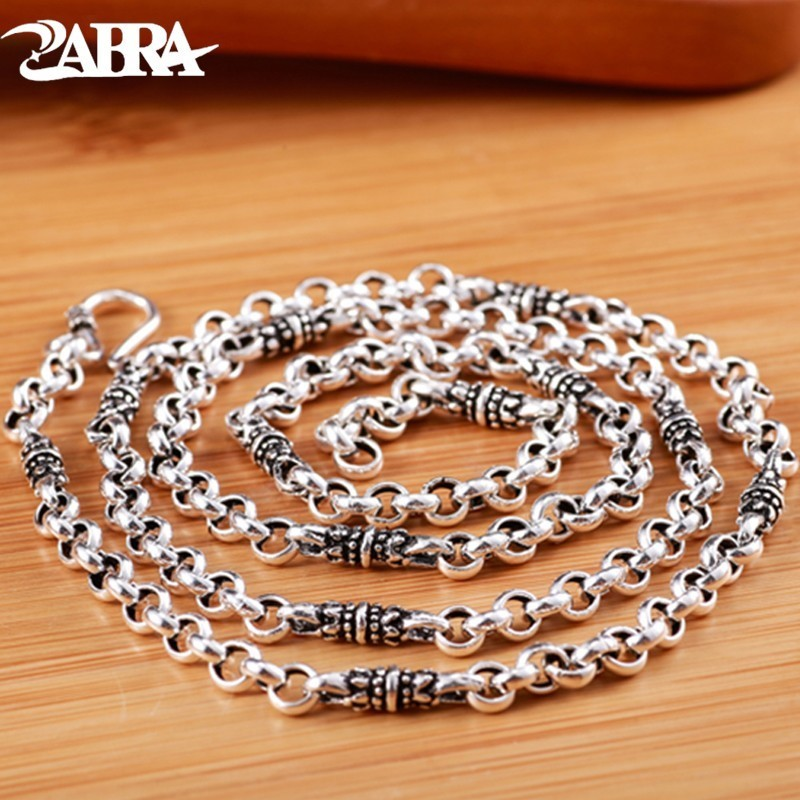 ZABRA Sweater Chain 925 Sterling Silver 4mm Round Necklace For Men Vintage Handmade Male Clavicle Silver Chain Biker Jewelry gagafeel vintage chain 925 sterling silver six mantra words necklaces for men handmade chain link female male silver drop ship