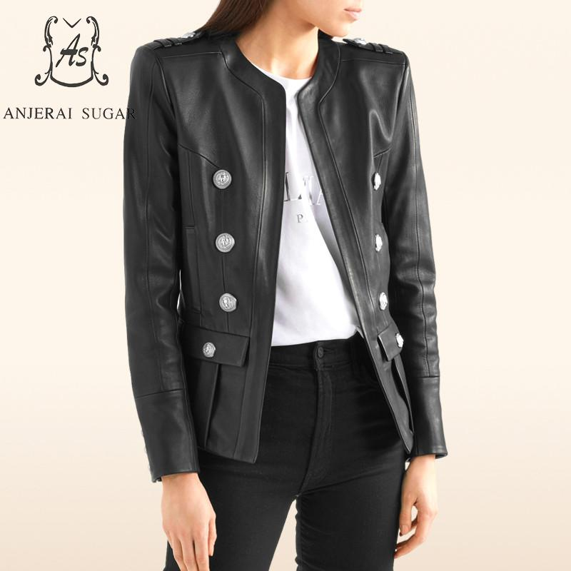 Autumn winter leather jacket women's coat Black sheepskin genuine leather motorcycle female sexy OL Slim Button Pleated Jackets