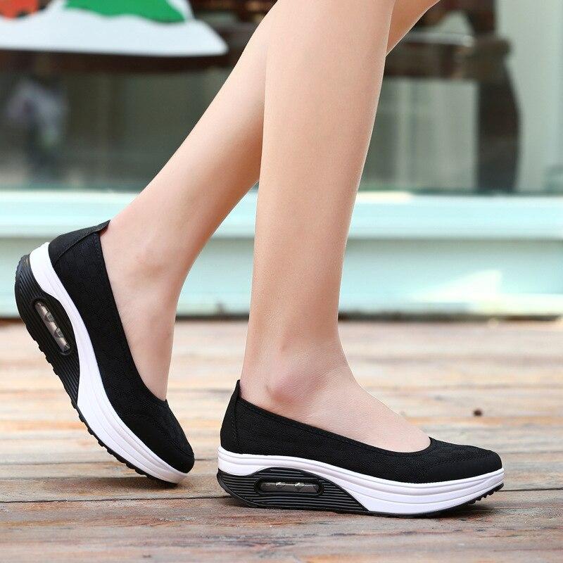 Zapatillas Las Zapatos Casuales Cuñas Deporte Plus red Verano Moda De Black Malla gray Rojo Transpirable Tamaño Plataforma Mujeres 2018 Negro Mujer 41 tOPzvWvwq