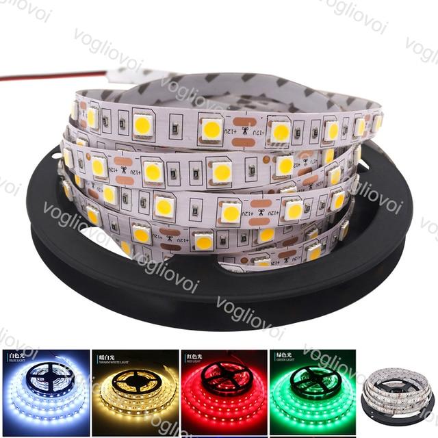 Vogliovoi Led Strip Light 5M SMD5050 DC12V 60led/M 300LED Round 2wire Dimmable Flexible Ribbon Waterproof LEDLights