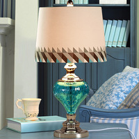 YOOK 34 61CM Mediterranean Style Green Transparent Vase Glass Table Lamp Mixed Color Lampshade Modern Table