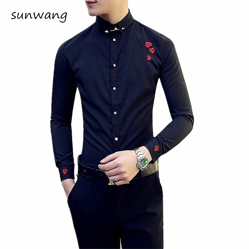 Popular mens rose dress shirts buy cheap mens rose dress Designer clothes discounted