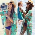 2016 Mulheres Verão Chiffon Floral Retro Bikini Cover Up Lazer Sexy Swimwear Praia Cover Up Vestido de Biquíni Plus Size Vestido