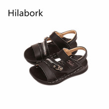 2017 new children's shoes leather summer boys sandals leisure HOOk & LOOP alphabet boys and girls leather sandals tide 9809B
