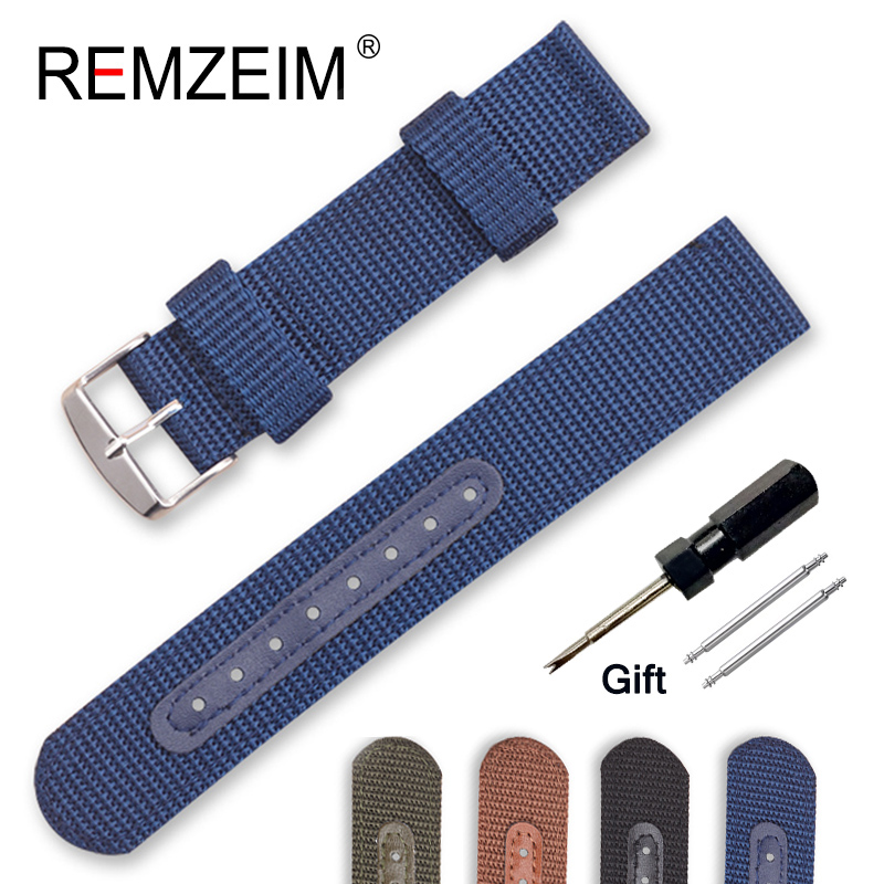 Nylon Canvas Watch Band 18mm 20mm 22mm 24mm Outdoor Sports Nato Strap Watchband Steel Metal Needle Buckle Watch Accessories