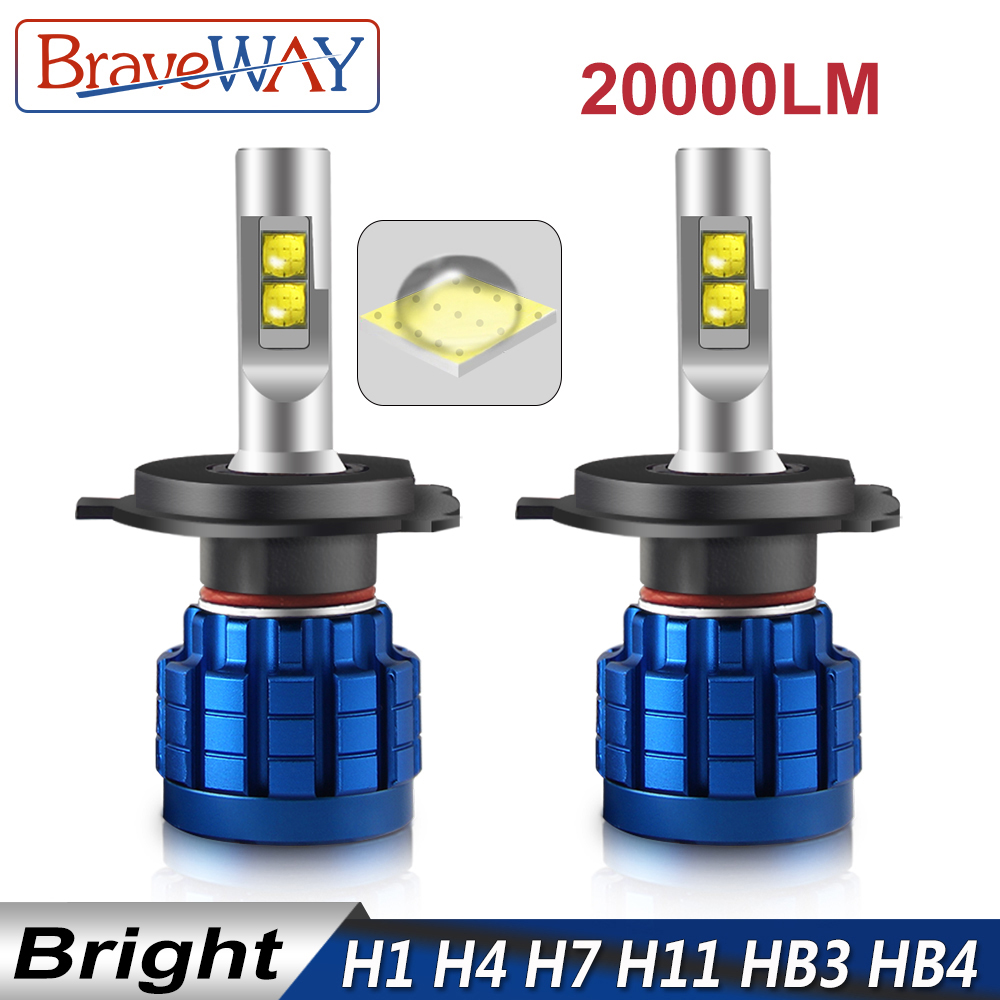 Car Lights Braveway The Brightest Led Headlight Bulb H1 H4 H7 H11 Hb3 Hb4 Led Light Bulbs H4 H7 9005 9006 Led Bulb For Car Light H7 Canbus Clear And Distinctive