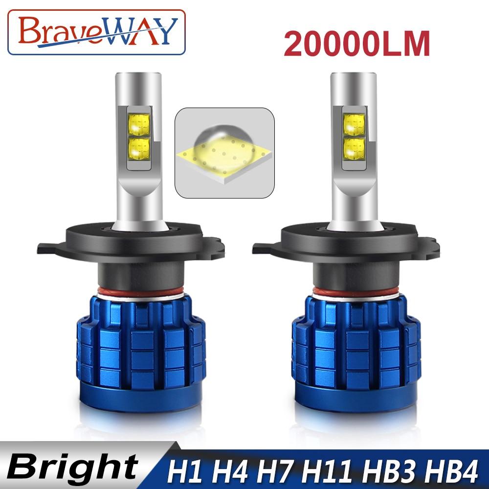 BraveWay 20000LM CONDUZIU a Lâmpada Auto H1 H4 H8 H9 H11 HB3 HB4 9005 9006 Farol LEVOU Canbus H7 H11 H7 lâmpada LED Lâmpadas para Carros