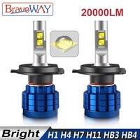 Braveway 20000LM светодиодный авто лампы H1 H4 H8 H9 H11 HB3 HB4 9005 9006 фар Светодиодный H7 Canbus H11 H7 Светодиодный лампочки лампы для автомобилей