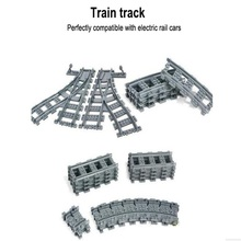 City Trains Train Flexible Track Rail Crossing Straight Curved Rails Building Blocks Figure Toys For Children Compatible Legoe