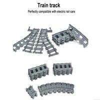 City Trains Train Flexible Track Rail Crossing Straight Curved Rails Building Blocks Figure Toys For Children