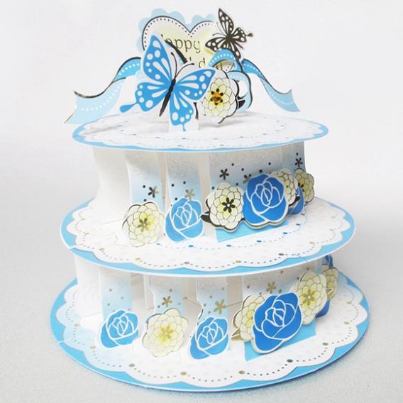 Rose Butterfly Birthday Cake Handmade Kirigami Origami 3d Pop Up
