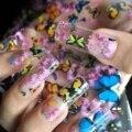 Transferencia Art Nail Foil Pegatinas Decoración Tatuajes De Plástico Herramientas de Uñas Colorido Flying Butterflies Begonia Flores Diseño 653