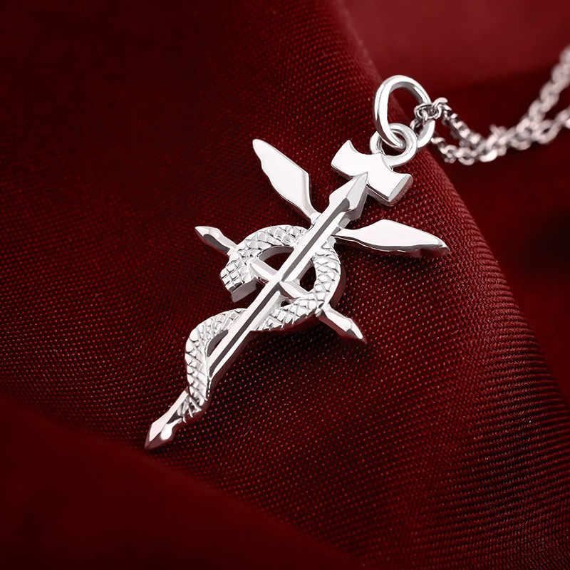 อะนิเมะ Fullmetal Alchemist Edward Elric Fullmetal Alchemist จี้สร้อยคอเงิน 925 คอสเพลย์สร้อยคอจี้ของขวัญฮาโลวีน