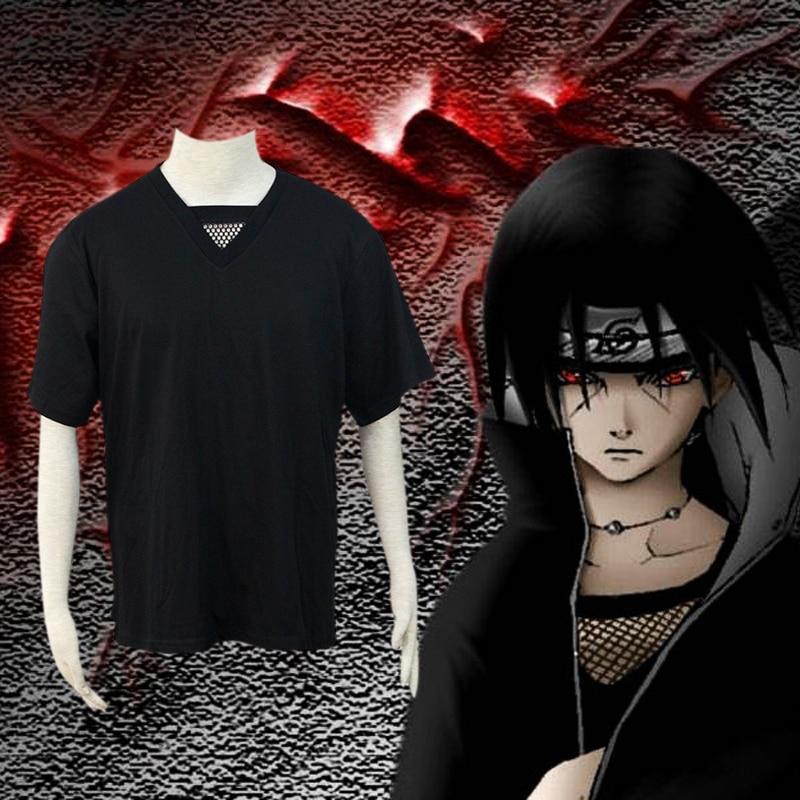 Osaili Naruto Akatsuki Itachi Uchiha Anime Cosplay Costume Uniforms Black Top Grid T Shirt For Performance Halloween Birthday
