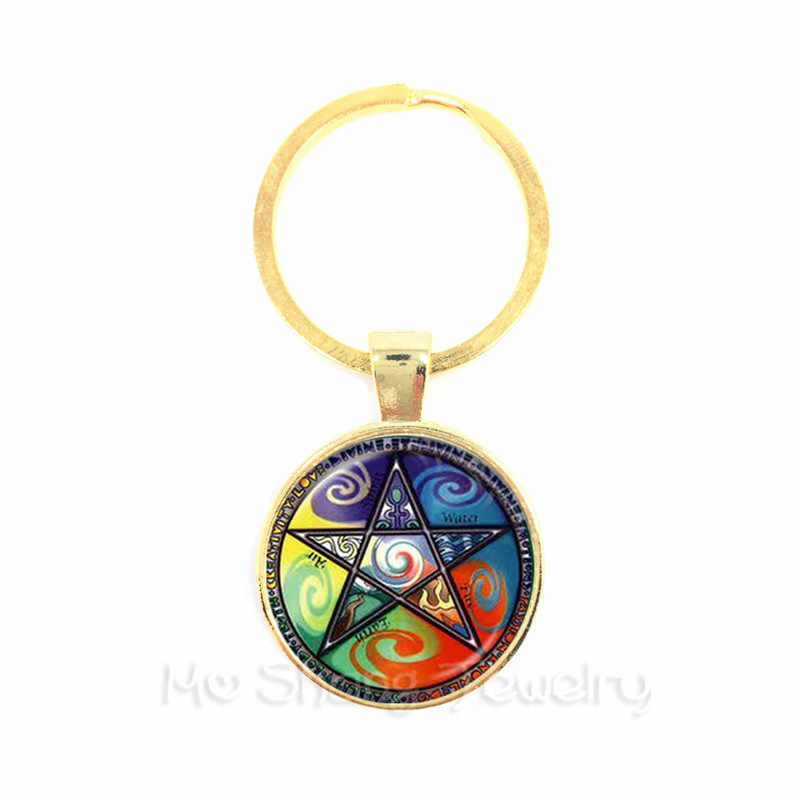 002da939aaaa9b ... Supernatural Pentagram Keychain Glass Cabochon Wicca Pagan Gothic  Pentagram Pentacle Star Crystal Pendant Five Pointed Star ...