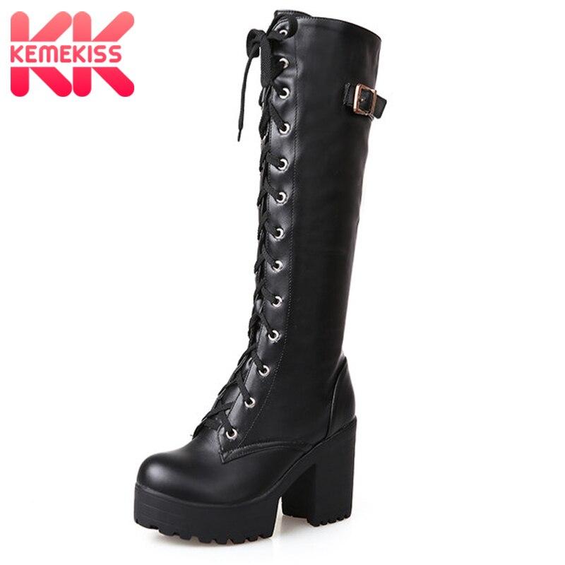 KemeKiss 2018 Plüsch größe 34-43 Sexy high heels Knie-Hohe Stiefel Frau Plattform Winter frauen Schuhe hinzufügen Pelz Schnee Stiefel schuhe