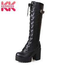 27bce0df5b64ef KemeKiss 2018 Plüsch größe 34-43 Sexy high heels Knie-Hohe Stiefel Frau  Plattform