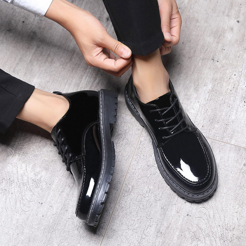 Business Casual Shoes Patent Leather England Men's Shoes Breathable Lace-up Shoes Men's Wedding Shoes