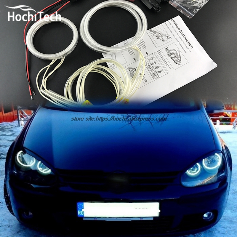 HochiTech ccfl angel eyes kit white 6000k ccfl halo rings headlight for VW Volkswagen golf 5 MK5 2003 2009
