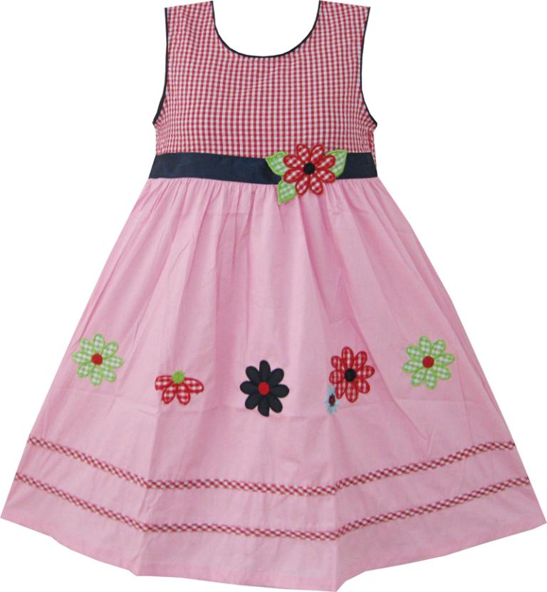 Sunny Fashion Girls Dress Pink font b Tartan b font Embroidered Flower Party Kids Boutique Cotton