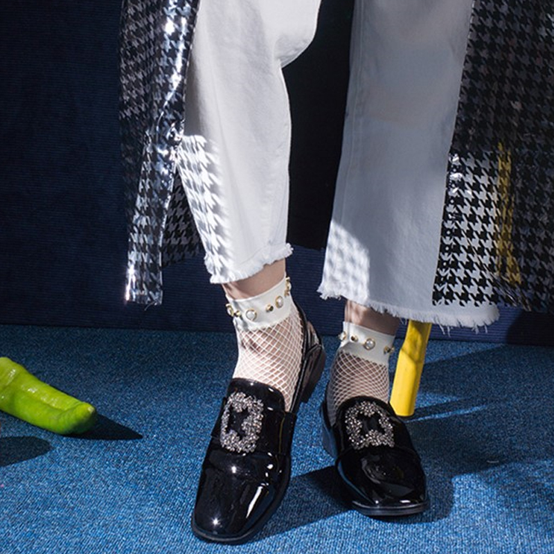 Femme Noir Britannique Vintage Femmes Printemps Pour Ugi En forme Chaussures Pu pourpre Verni Cuir 2018 Strass Plate Appartements Chaussure Rond Les wnAYHxqEF